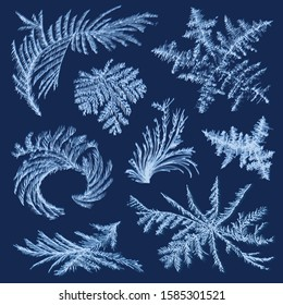 Realistic hoarfrost frost ice set with isolated images of winter glass paintings of various shape vector illustration