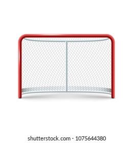 Realistic hockey gates icon on the white background. Vector eps 10