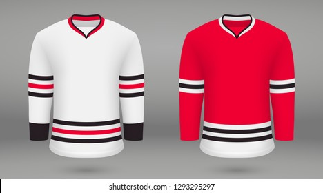 Realistic hockey kit Chicago Blackhawks, shirt template for ice hockey jersey. Vector illustration
