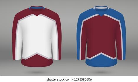 Realistic hockey kit Colorado Avalanche, shirt template fori ce hockey jersey. Vector illustration
