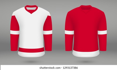 Realistic hockey kit Detroit Red Wings, shirt template forice hockey jersey. Vector illustration