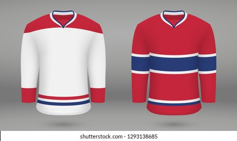 Realistic hockey kit Montreal Canadiens, shirt template for ice hockey jersey. Vector illustration