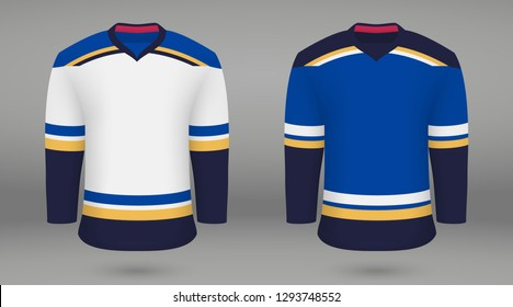 Realistic hockey kit St. Louis Blues, shirt template for ice hockey jersey. Vector illustration