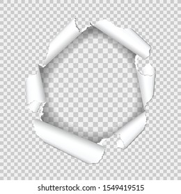Realistic hole in sheet of paper with torn edges on transparent background. isolated vector illustration