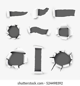 Realistic holes in white paper with damaged sides variety forms and sizes. Torn off white background with ripped edges vector illustrations set. Torn page banner template with copyspase for web design