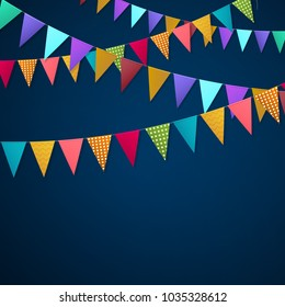 Realistic holiday garlands from triangle colorful flags hanging on string on dark background 3d vector illustration