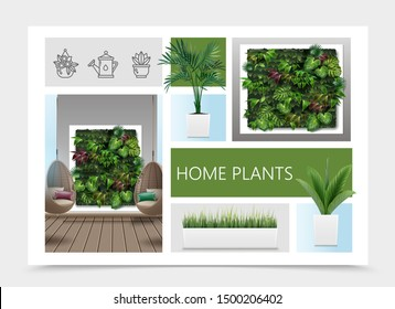 Realistic home plants composition with exotic leaves and grass in flowerpots living room interior with wicker hanging chairs and vertical garden vector illustration