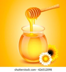 Realistic Honey stick and glassy Jar of honey with white and yellow flowers on yellow background.