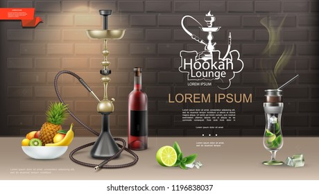 Realistic Hookah Lounge Bar Template