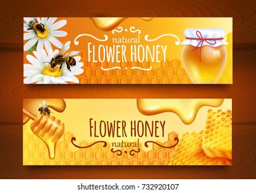 Realistic horizontal banners set with bees combs and jar full of natural flower honey isolated on wooden background vector illustration