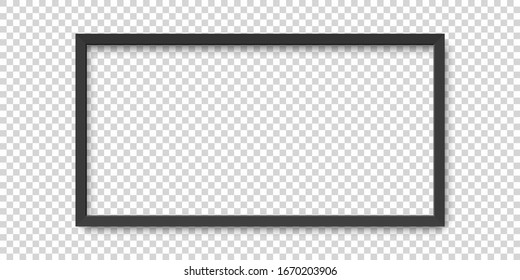Realistic horizontal black picture frame isolated on transparent background.