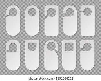 Realistic hotel room hangers vector icon isolated from background. Collection of various blank door hangers tags or labels templates without text.