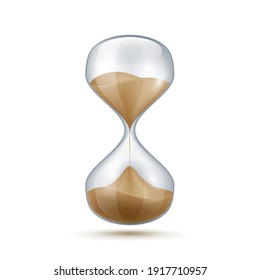 Realistic hourglass. 3D sand clock. Old-fashioned stopwatch for time measurement. Connected transparent flasks with falling grains measure seconds. Vintage countdown timer. Vector isolated glass watch