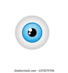 realistic human eyeball.blue glossy eye with bright.
