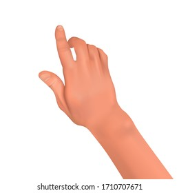 Realistic human hand on a white isolated background.Finger gesture in the form of touching, pressing, pointing.Element for design. 3D vector illustration.