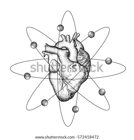 Realistic Human Heart Wings Like Atom Stock Vector Royalty Free