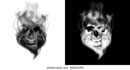 Realistic human skull in the smoke. Isolated object on white and black background, can be used with any image or text.