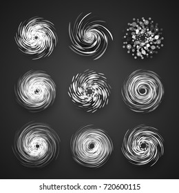 Realistic Hurricane cyclone vector icon, typhoon spiral storm logo, spin vortex illustration on black background with shadow