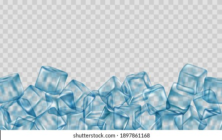 Realistic ice cubes blocks composition with empty space surrounded by bunch. Transparency only in vector format