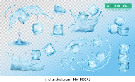 Realistic ice cubes water splash set of colourful isolated images on transparent background with text vector illustration