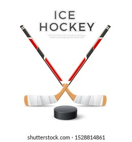 Realistic ice hockey crossed sticks with puck. Hockey emblem vector design. Team winter sport championship poster. Betting promo banner.
