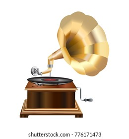 Realistic icon of an old gramophone isolated on a white background