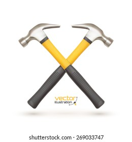 Realistic icon of two crossed hammers, isolated on white background. Vector illustration