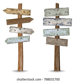 Realistic icon of a wooden arrow signpost and signboards on the post covered with old paint isolated on a white background