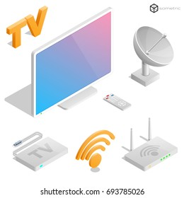 Realistic icons in isometric television, set of isometric icons in TV, modem, remote, antenna