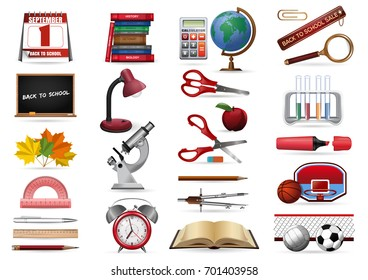 Realistic icons set on a school theme. Back to school icons collection. Stationery, office and school tools. Vector illustration