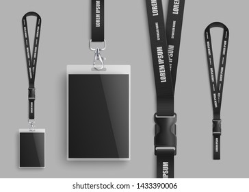 Realistic ID card mockup with blank photo and name identification badge. Set of identity pass lanyard parts design closeup with plastic clasp on black neck strap - isolated vector illustration