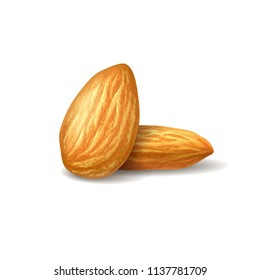 Realistic illustration almonds on white transparent background. Nuts on isolated background. Photorealistic 3D illustration for packaging design, labels, postcards, print design. EPS10