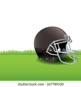 A realistic illustration of an American Football helmet sitting on green grass.