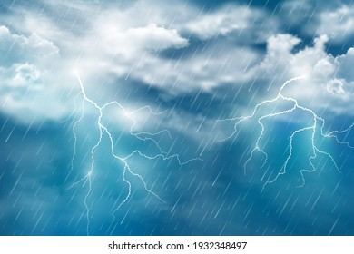 Realistic illustration of autumn night rain with thunderclouds and lightning on dark blue sky. Vector abstract background.