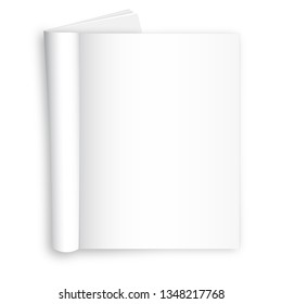 Realistic illustration of blank layout of open newspaper, magazine on the white background. Vector Illustration.