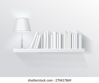 Realistic illustration of bookshelf on the wall with lamp and books