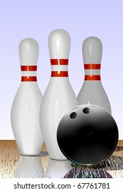 Realistic illustration of bowling pins and ball on the playing line. Reflection. Vector