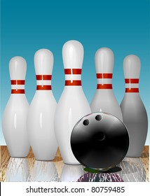 Realistic illustration of bowling pins and ball on the playing line. Reflection. Vector.