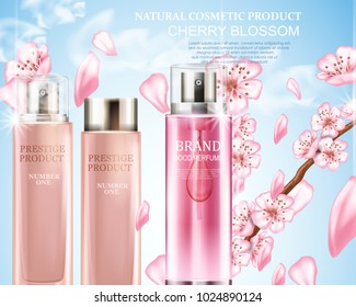 Realistic illustration with cherry blossom and cosmetic bottles. Perfume.