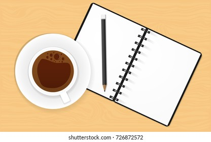 Realistic Illustration Concept of Business Vector with Notebook Cup of Coffee and Pencil for create idea or creativity