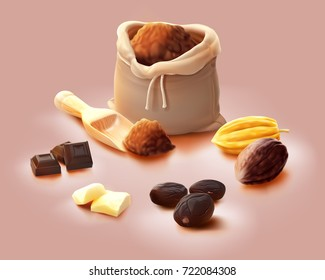 a realistic illustration concept for cocoa processed products, for example, roast cocoa beans, fine powder in a sack, butter, chocolate, a green and dry pod, isolated on light red.