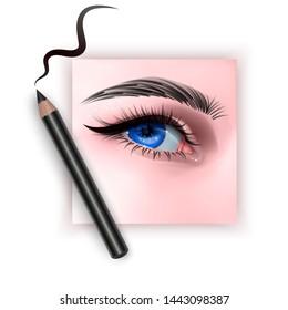 Realistic illustration of eye applying eyeliner close up, woman applies eyeliner, Vector EPS 10 illustration