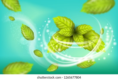 Realistic Illustration Flying Mint Leaf Vector. 3d Image Set Fresh Mint Foliage. Refreshing Effect Whitening Toothpaste with Addition Mint. Dental Remedy for Teeth Oral Cavity. on Green Background