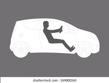 A realistic illustration of a generic vehicle and a young male driver