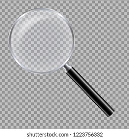 Realistic illustration of a glass magnifying glass with a black handle and a metal rim with reflections - isolated vector on a transparent background
