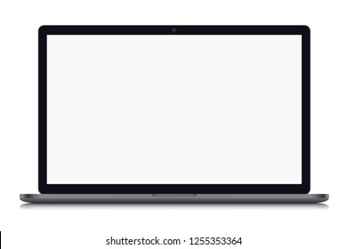 Realistic illustration of a grey laptop with blank white screen with webcam and black frame, isolated on white background - vector