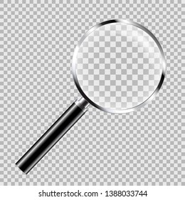 Realistic illustration of magnifying glass with metal trim with glare and black handle, isolated on transparent - vector