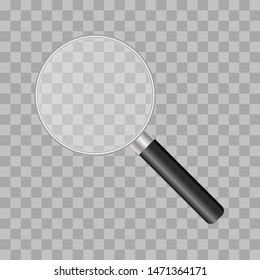 Realistic illustration of magnifying glass with metal.  Isolated vector 3D  illustration. Magnifying glass vector isolated icon. Zoom tool