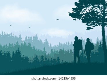 Realistic illustration of mountain landscape with coniferous forest and hills under clear blue and green sky with white clouds. Two hikers, man and woman with backpacks standing and looking - vector