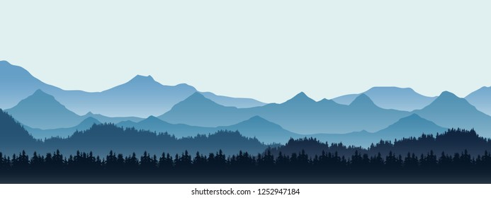 Realistic illustration of mountain landscape with hill and forest with coniferous trees, under blue winter sky with space for text - vector